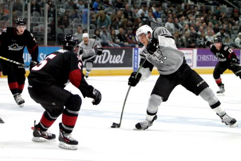 Borna Rendulic takes a wrist shot in a game against the Lake Erie Monsters. Photo by Shelby Rose, The Paisano