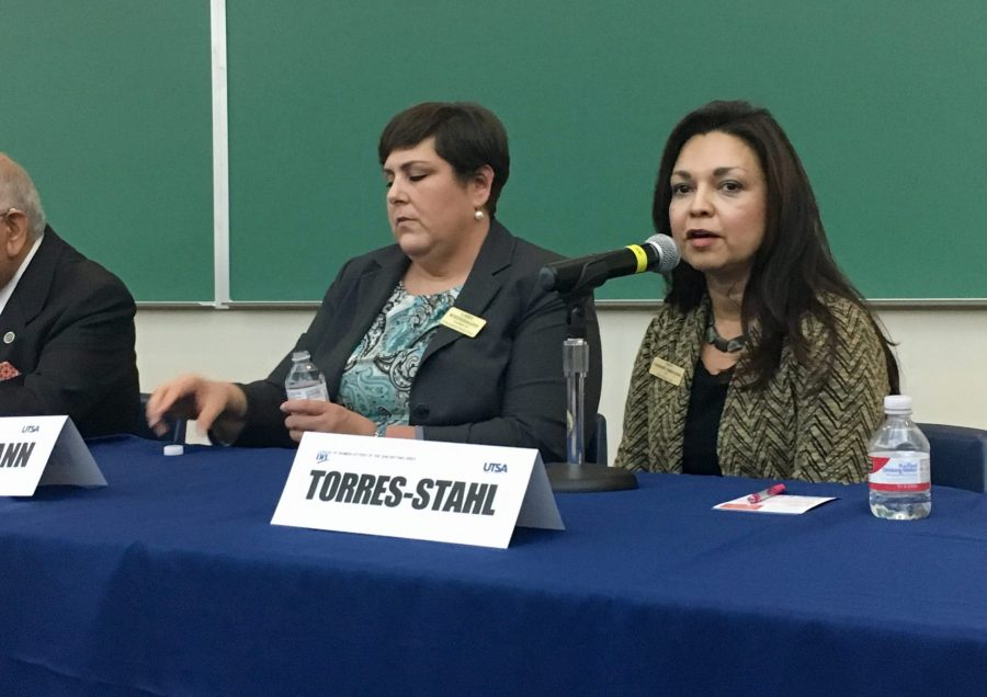 Libby Wiedermann and Catherine Torres-Stahl debating at the Candidate Forum. Isaac Serna, The Paisano
