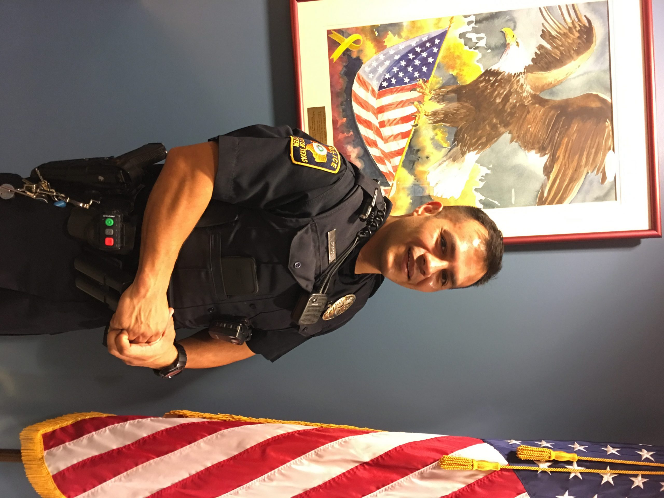 Officer Christopher Charo at the UTSA Police Department. Photo by Alex Joyer