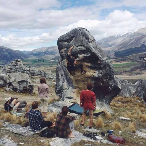 YWAM (Youth With A Mission) Oxford climbers spend a day bouldering in Castle Hill, New Zealand. Bouldering is a type of climbing without ropes or harnesses. The distance is usually short enough that a crash pad can be used to cushion the fall. Photo courtesy of David Matalon