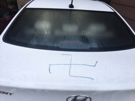 The swastika found on H. Drew Galloway's car. Photo courtesy of @hdrewgalloway