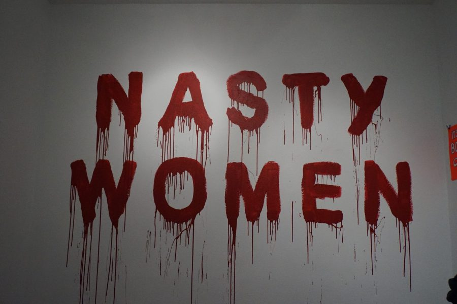 The+new+feminist+battlecry+is+painted+on+AP+Art+Lab+gallery+wall.+Photos+by+Raquel+E.+Alonzo