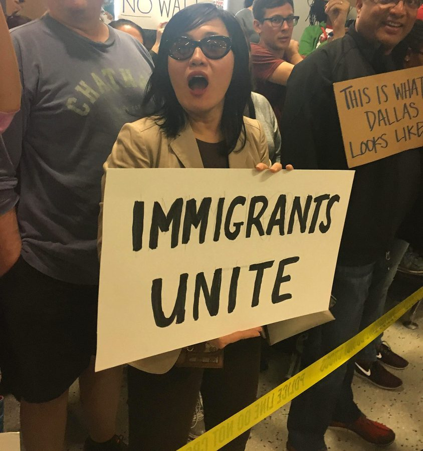 Protesters gather at DFW airport where people were detained. Caroline Traylor, The Paisano