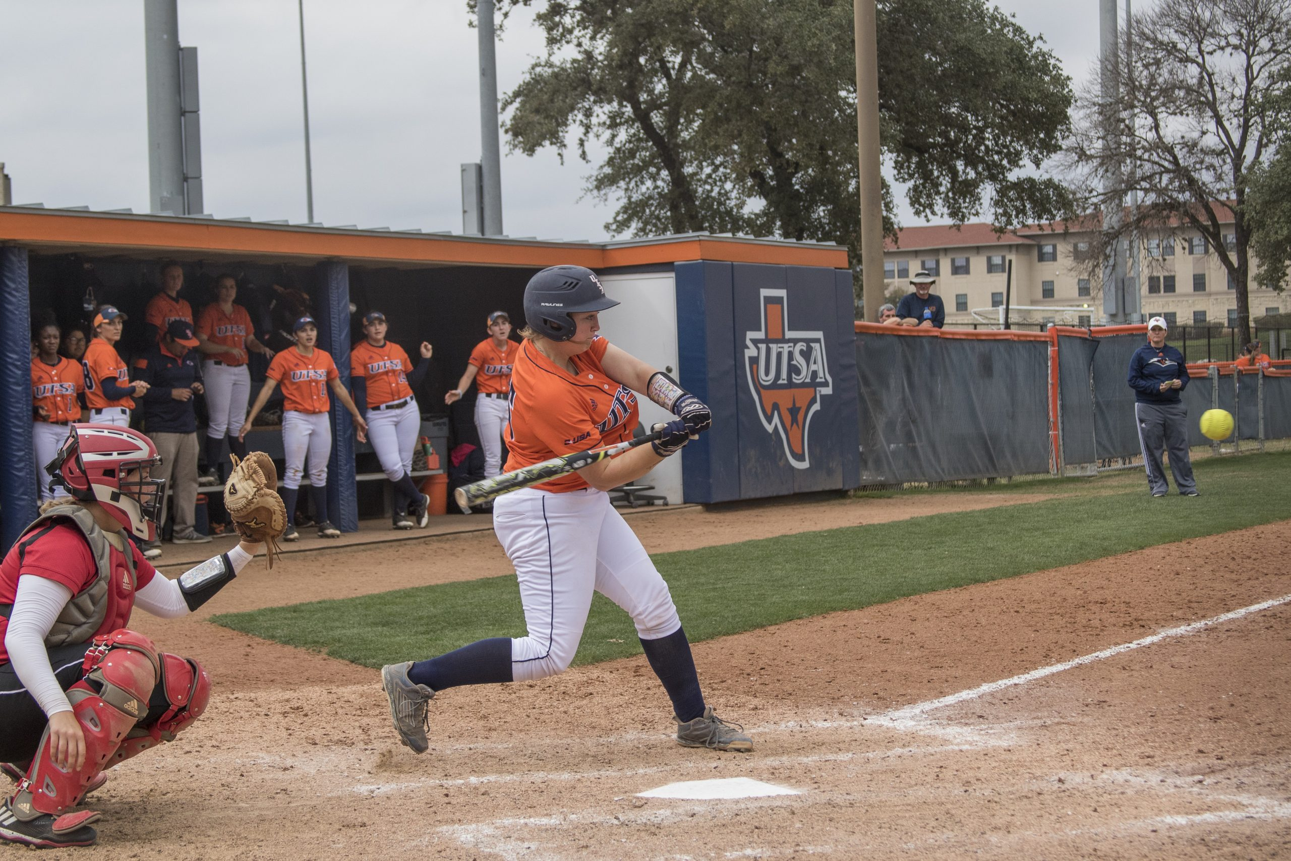 Randee Crawford locks in on the pitch as she takes a swing. Tristan Ipock/The Paisano