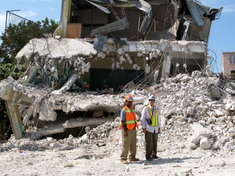 Dr. Ghannoum (right) surveying earthquake damage in Haiti in 2010. Photo Courtesy of Wassim Ghannoum