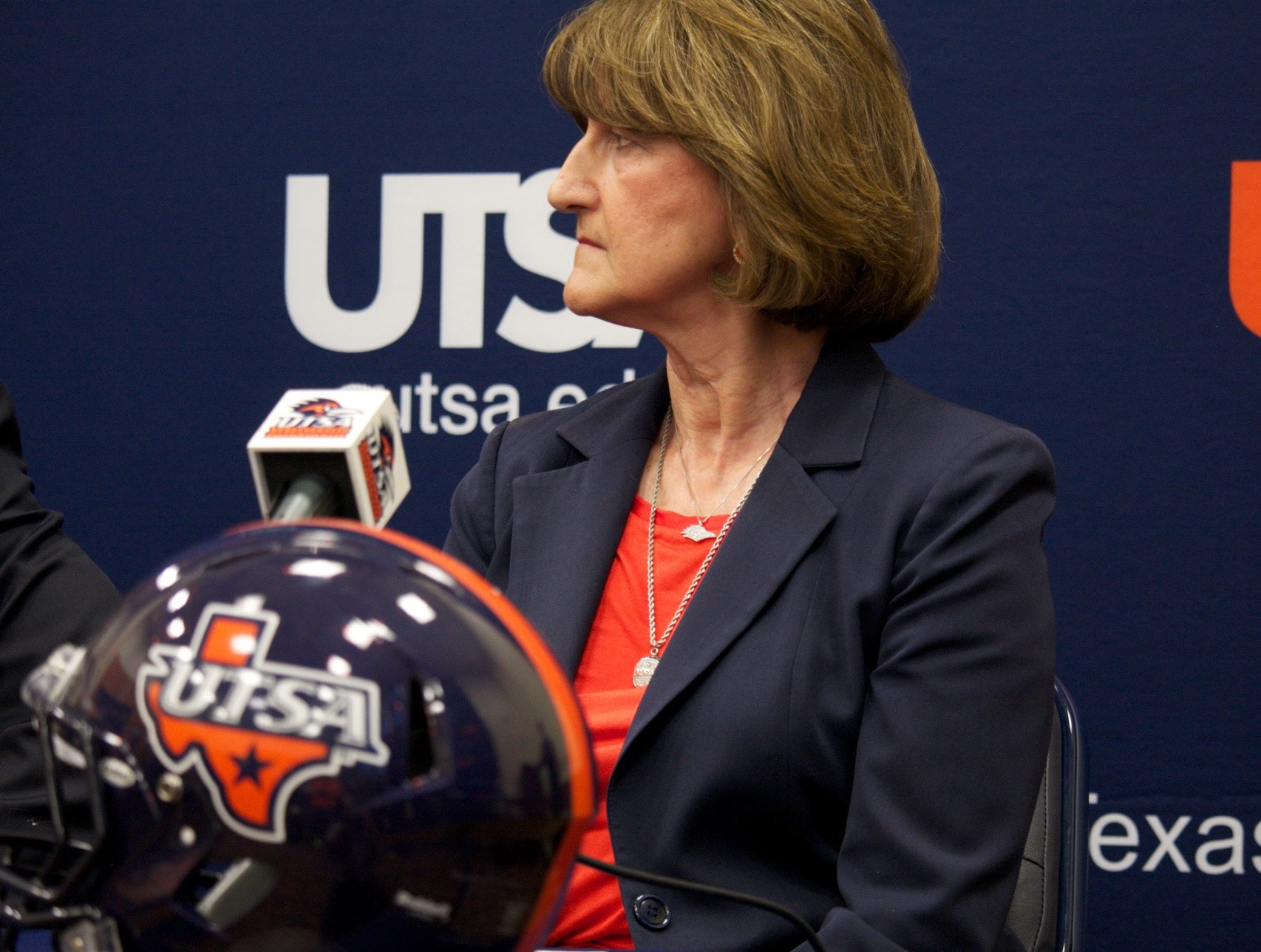 Lynn Hickey, who stepped down from her position as UTSA athletic director on Sept. 7, sits at a UTSA football press conference. File Photo, The Paisano