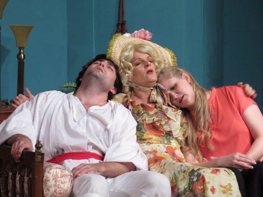 The Bliss Family from left to right: Schedel Luitjen as Simon, Cheryl Tanner as Judith, Hannah Palmer as Sorel. Courtesy of the Boerne Community Theatre