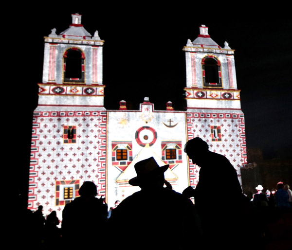 """Restored by Light"" projection show at Mission Concepcion. Photos Courtesy of World Heritage Festival"