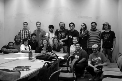 The Young Democratic Socialists of America at UTSA pose after a meeting. The organization is awaiting university recognition as an official UTSA student organitaztion.  Heather Montoya, The Paisano