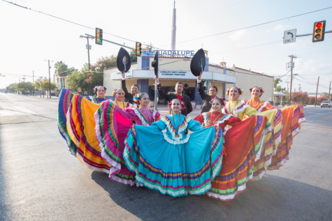 Folklorico dancers pose in front of the Guadalupe Cultural Arts Center. Courtesy of the  Guadalupe Cultural Arts Center
