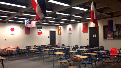 Old furniture sits in a foreign language classroom in the McKinney Humanities building. Photo Courtesy of  Leah Feneley, The Paisano