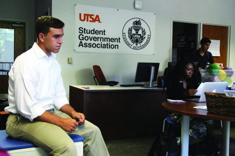 A Student Government representative sits in the HEB UC office. Joseph Mabry/The Paisano