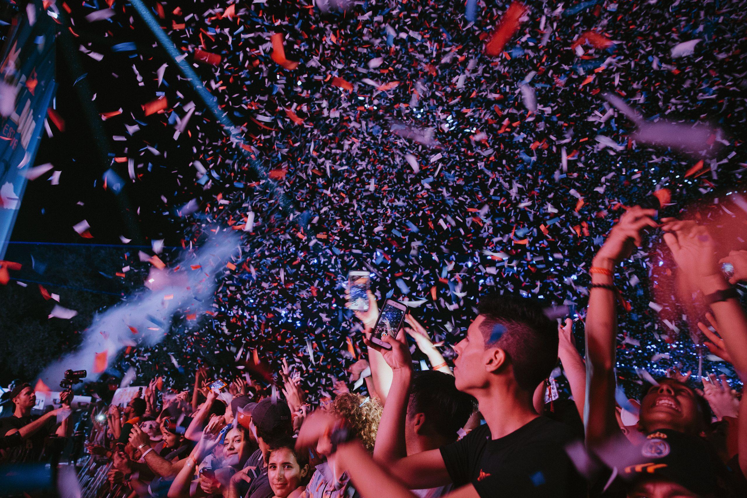 Confetti showers the crowd at last years Mala Luna. Photo courtesy of Greg Noir