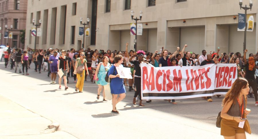 A Black Lives Matters protest marches through downtown St. Louis. Enrique Bonilla/The Paisano
