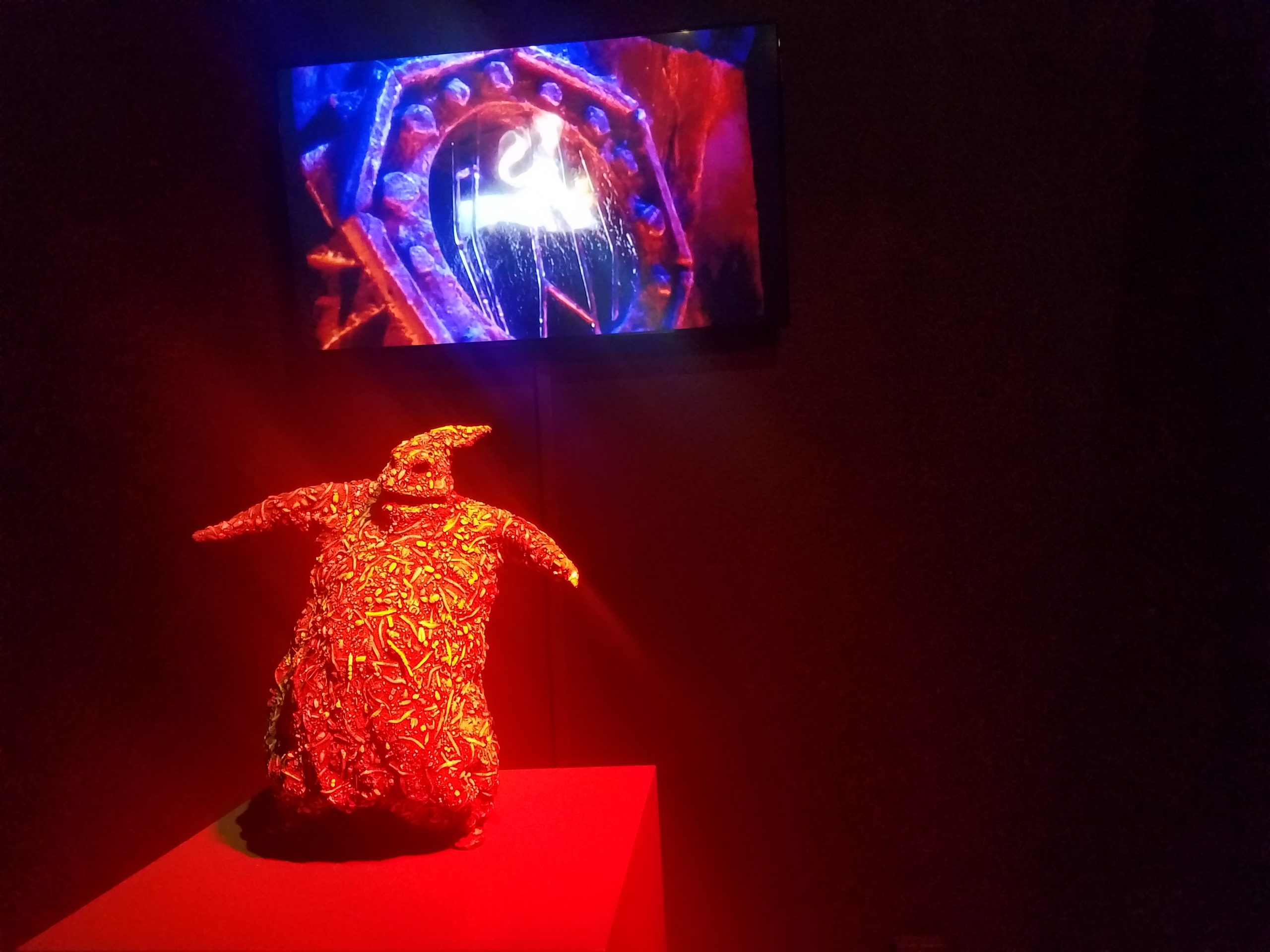 Original model of Oogie Boogie's body beneath a red light featured at the McNay. Triston Simpson-Bland/The Paisano