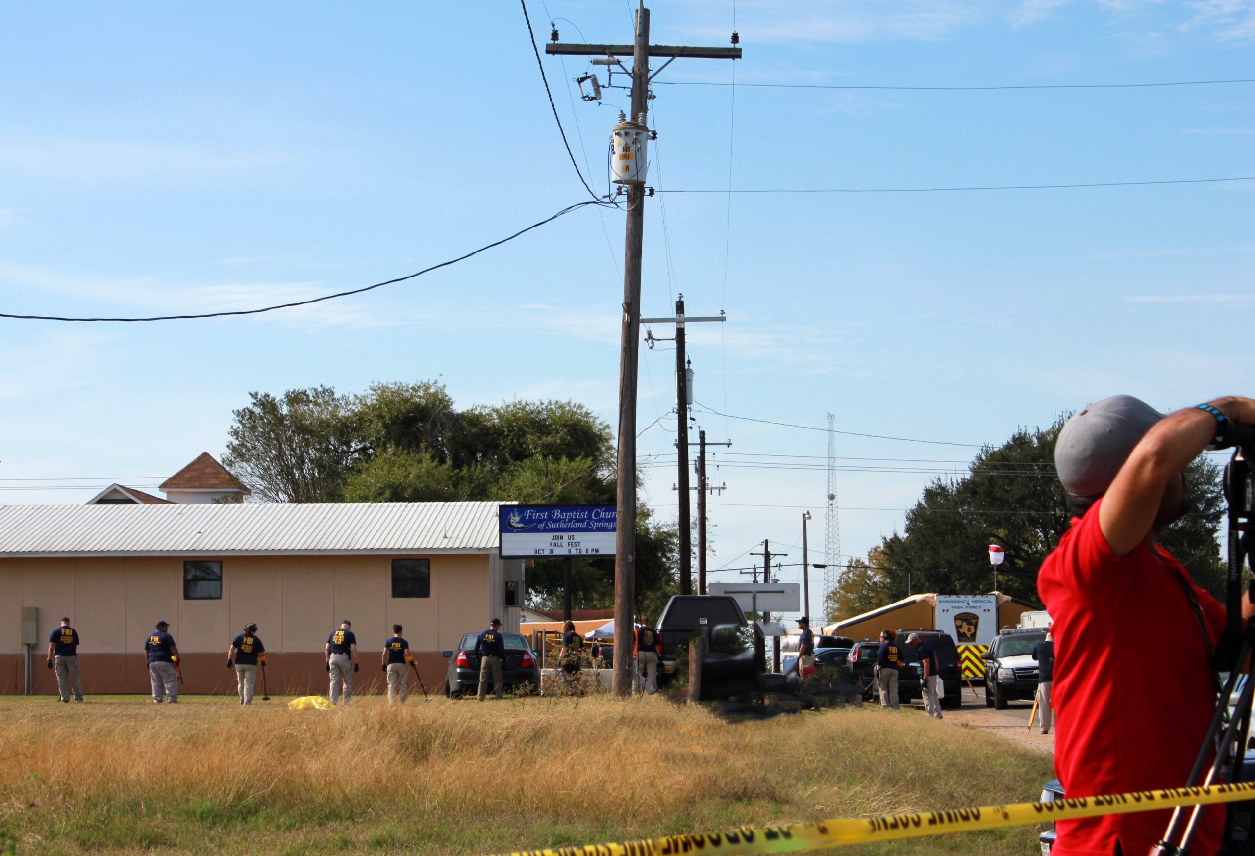 The FBI searches the premises of the First Baptist Church in Sutherland Springs after Sunday's shooting. Heather Montoya/The Paisano