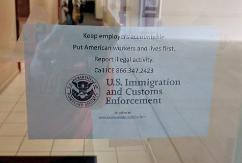 This poster was found taped on the enterance of the GSR building. ICE confirmed the posters were not posted by their agency. File Photo/The Paisano