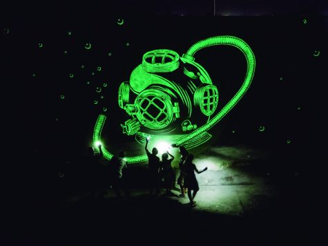 Reskate showcased a glow in the dark piece at last year's annual Luminaria Arts Festival. Courtesy of Luminaria