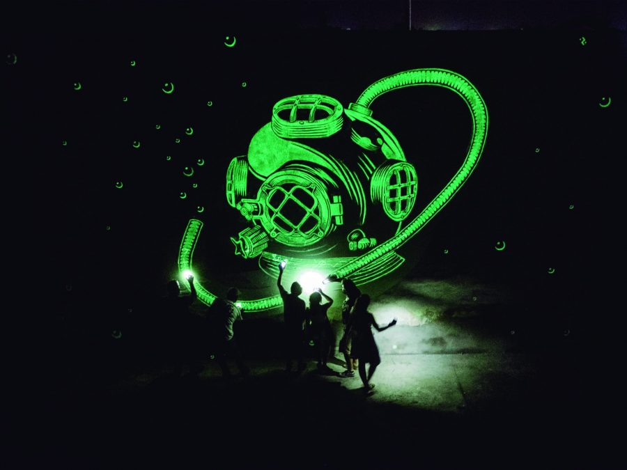 Reskate showcased a glow in the dark piece at last year's annual Luminaria Arts Festival. Courtesy of Luminaria