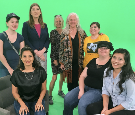 Cast & crew. From right: Rebel Mariposa, Caitlin O'Brien, Ashley Smith, Kathy Miner, LaurenBrowning, Melody De La Garza, B.Kay Richter, Denise Hernandez. Photo courtesy of GET Texas