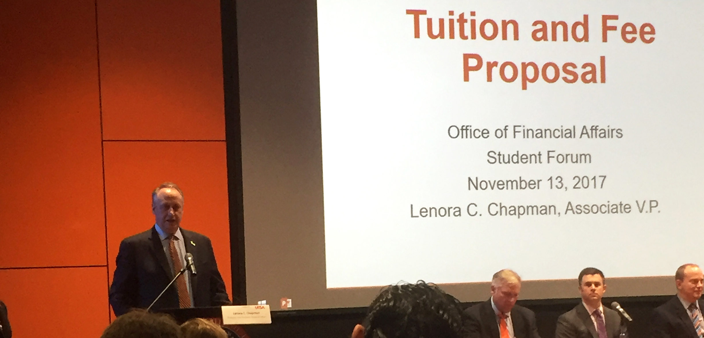 President Eighmy addresses students about the Tuition and Fees Proposal. Courtesy of Heather Montoya/Paisano