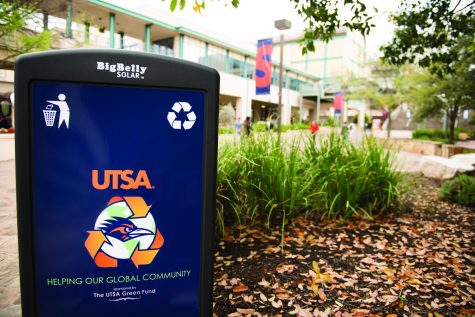 These trash compacters, found all over campus, are projects of the first Green Fund at UTSA.  Ethan Pham/The Paisano