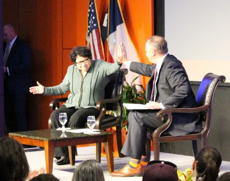 Supreme court justice Sonia Sotomayor high fives UTSA president Taylor Eighmy. Gaige Davila/The Paisano