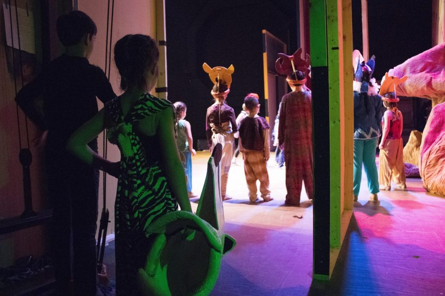 Backstage at the youth production of The Lion King.