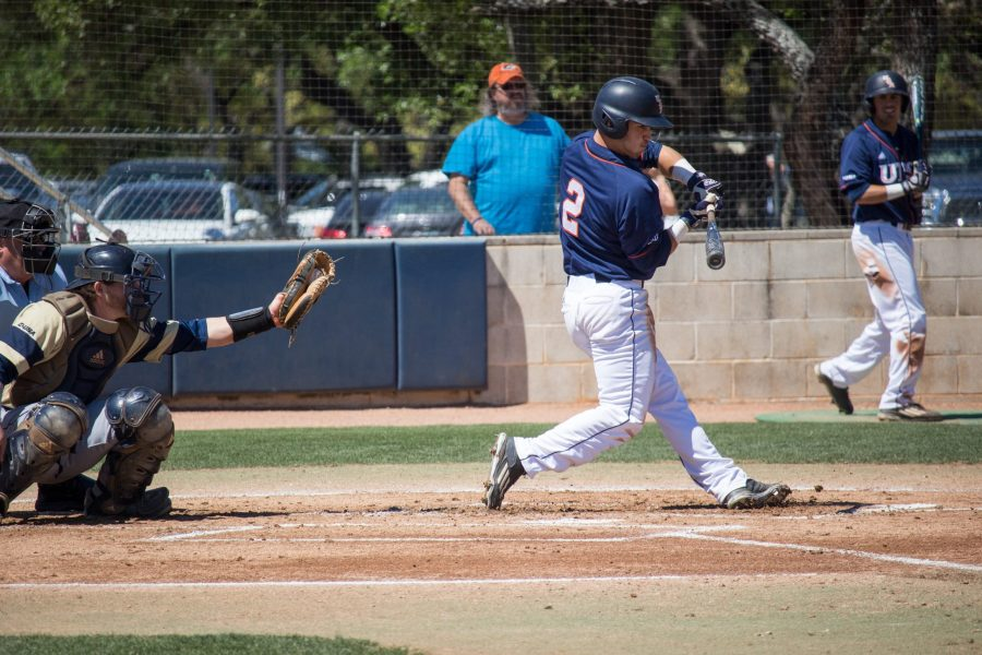 Former Roadrunner Skyler Valentine swings through the zone. Tristan Ipock, The Paisano.