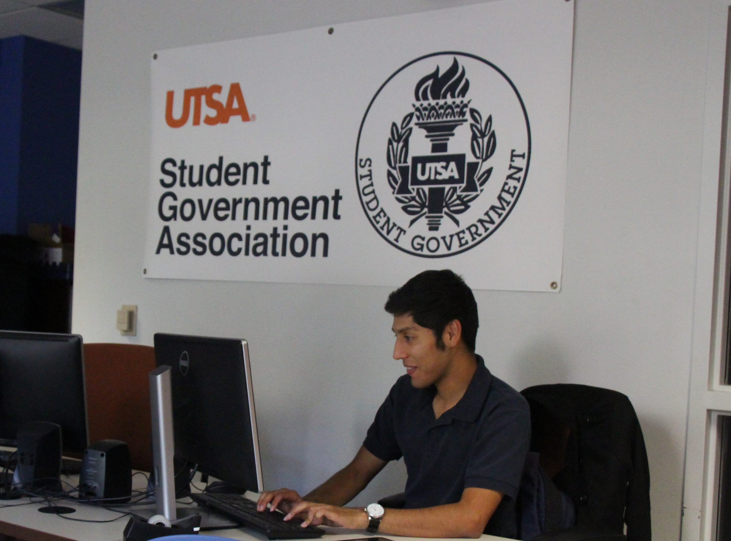 Members of the Student Government Association work in their office to draft memorandums. Photo Courtesy of Joseph Mabry
