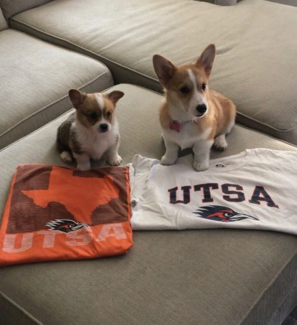 Jordy and Feebie Lou pose for their photo with UTSA swag.  Photo Courtesy of Audrey Castor