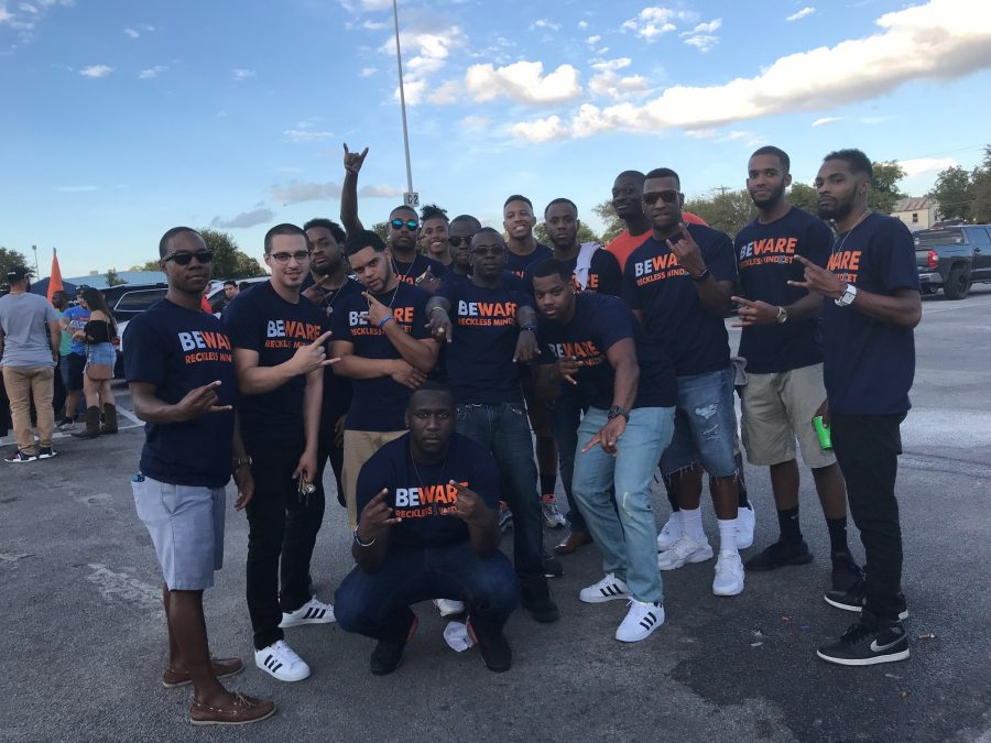 Members of the UTSA chapter of the Phi Beta Sigma fraternity pose at an organized social event. Photo Courtesy of Brittney Tisdale