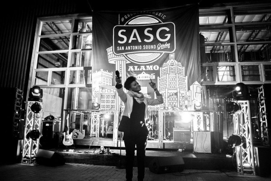 AMEA, a UTSA graduate, performs at San Antonio Sound Garden's official launch party. Photo courtesy of Oscar Moreno