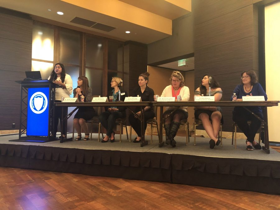 "Cristal Martinez, president of student psyche association, speaks during the ""#MeToo: A Conversation about Sexual Harassment in Academia"" event on April 12.  Photo courtesy of Alejandro Lopez"
