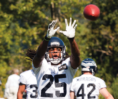 CB Richard Sherman works on his ball skills during a Seahawks practice. Mark Samia/flickr.com