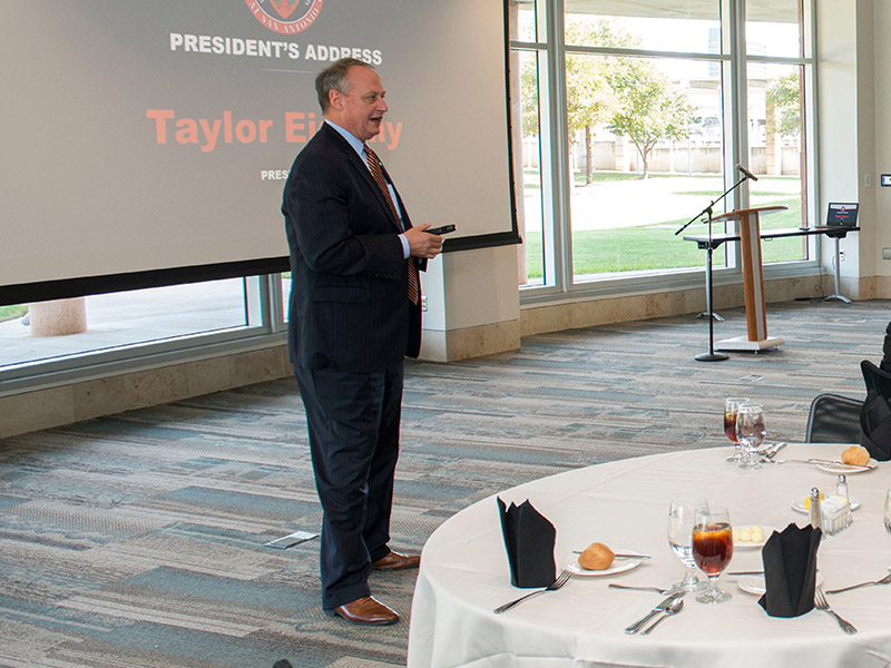 President Taylor Eighmy speaking at his president's address. Eighmy announced that the Senior Leadership Team will be adding two new positions: the Vice President for Inclusive Excellence and the Vice President for Information Management and Technology. A nationwide search is being conducted to fill the positions.  Courtesy of UTSA Today