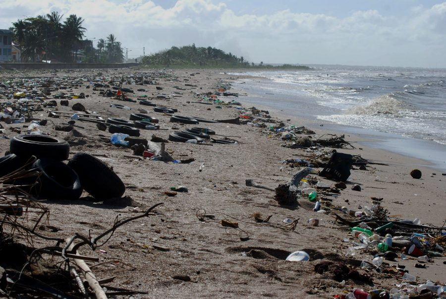 The beaches of Guyana littered with tires and waste. Photo courtesy of Creative Commons
