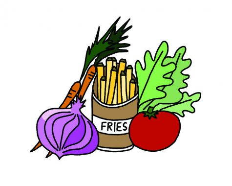 Hand drawn graphic of vegetables and a carton of French fries