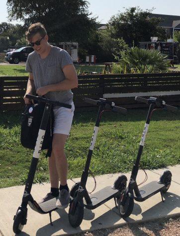 Schwarzpach riding a Bird scooter.