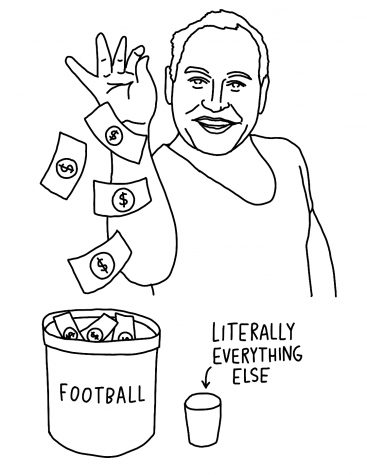 Graphic of Taylor Eighmey dropping money into a bucket labeled