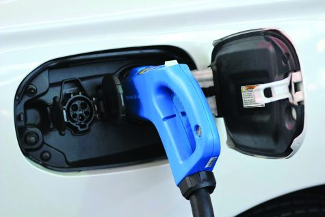 image of an electric car charging.