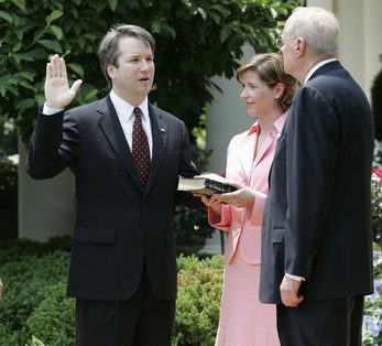 Kavanaugh being sworn in as Supreme Court justice