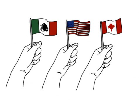 Flags of Mexico, the United States and Canada.