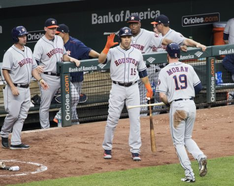 The Houston Astros after a run was scored against the Orioles