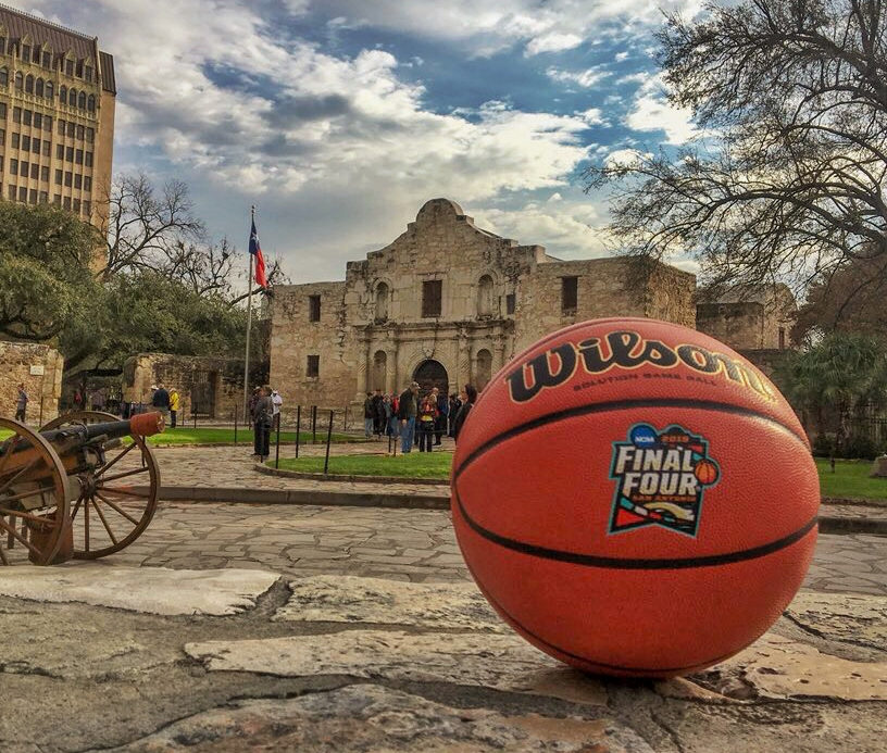 Final+Four+basketball+in+front+of+the+Alamo.