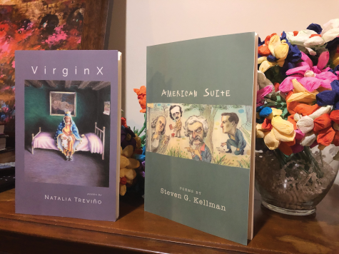 """Virginx"" by Natalia Treviño and ""American Suite"" by Steven G. Kellman."