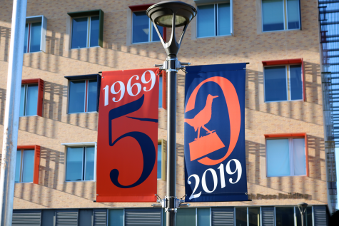 Special banners made to recognize anniversary.