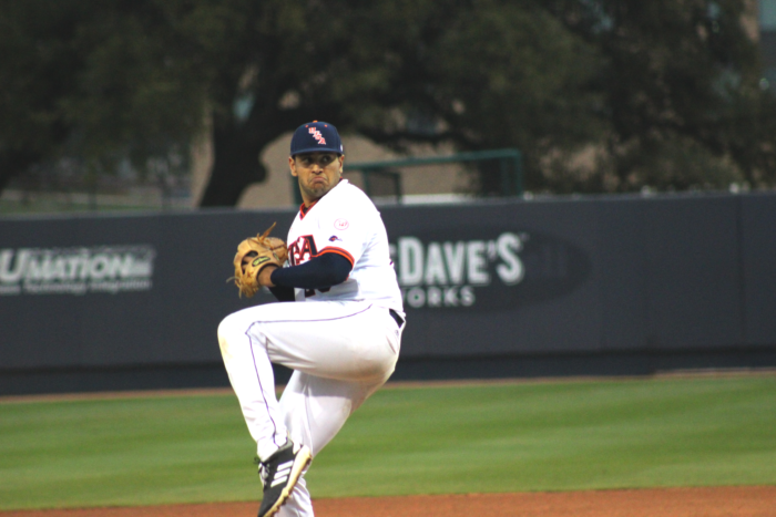 Karan Patel winds up on the mound.