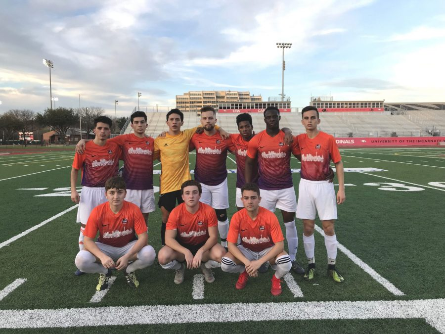 The men's club soccer before their game. Photo Courtesy of men's club soccer.