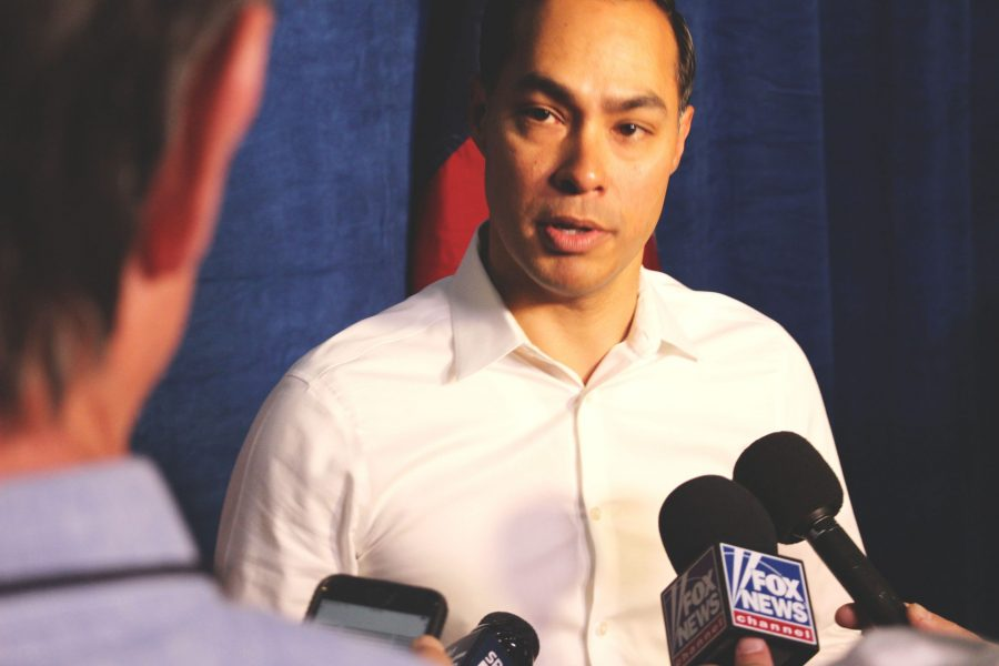 residential candidate Julián Castro speaks at Hemisfair Park.